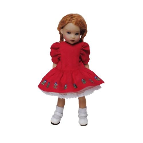 Rotes Kleid mit Stickerei