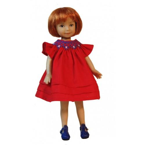 Round smocked dress red