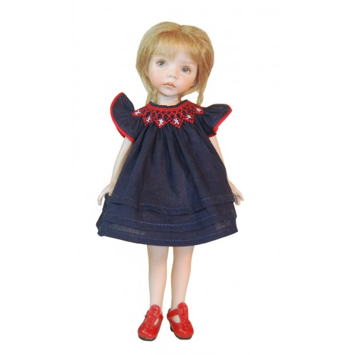 Round smocked dress red