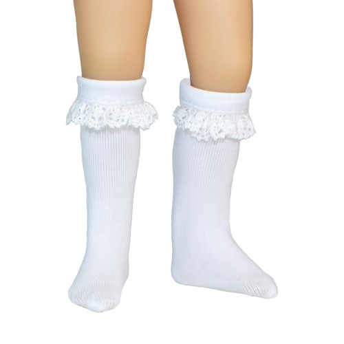 Lace trim cotton stockings 38mm