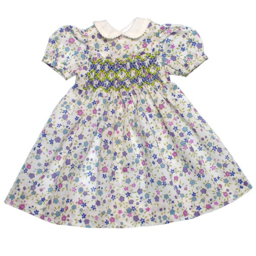 Purple floral smock dress with collar 33cm