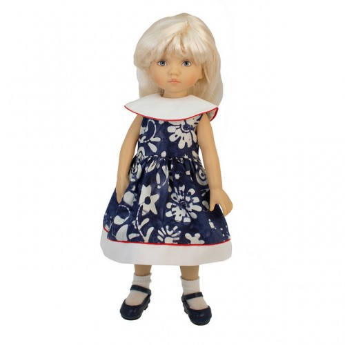 Blau-weißes Batikkleid 24cm