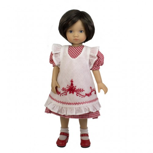 Kleid mit bestickter Schürze 24cm