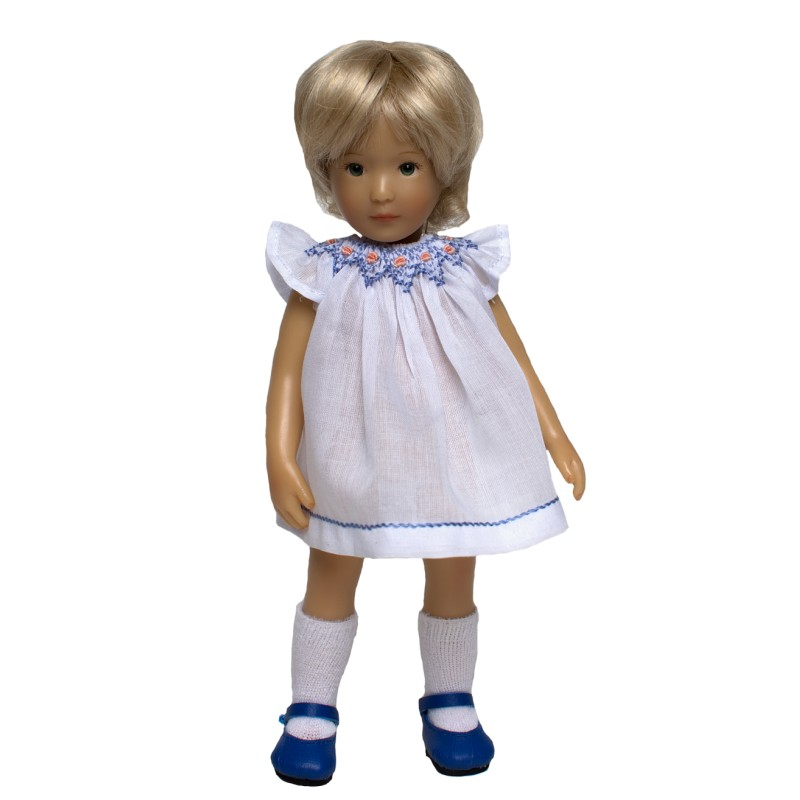 White round smocked dress