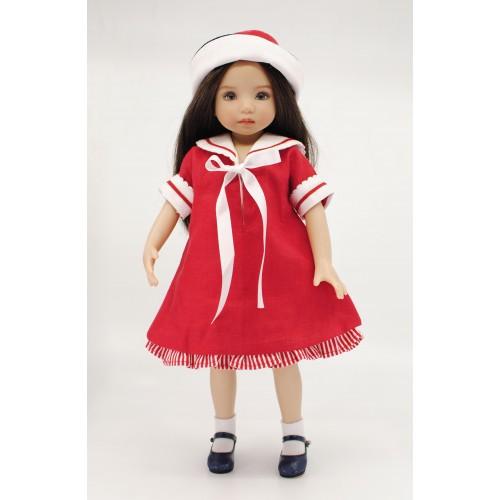 Marinekleid mit Hut rot 33cm