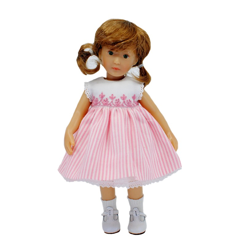 Embroidered dress with pink stripped skirt 20cm