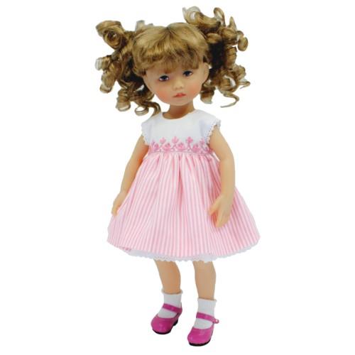 Besticktes Kleid mit rosa gestreiftem Rock 24cm