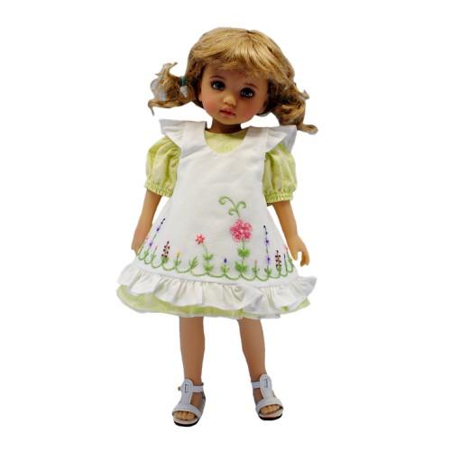 Grünes Kleid mit Schürze 24cm