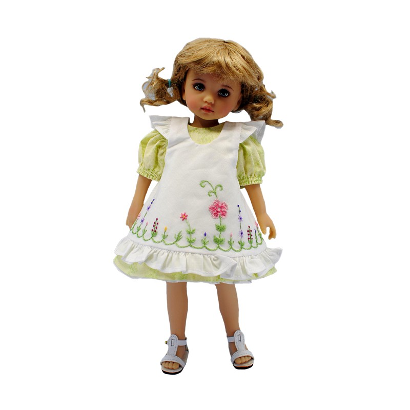 Green dress with pinafore 24 cm