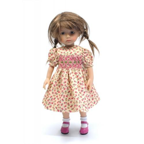 Rosa geblümtes Smokkleid 24cm