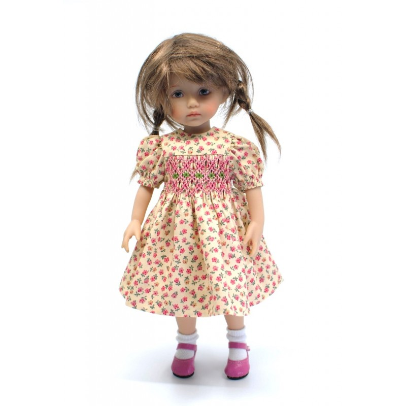 Smock dress with pink flowers 24cm