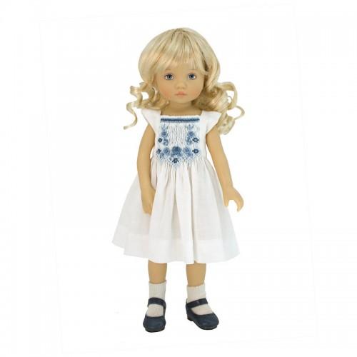 Weißes blau-gesmoktes Sommerkleid 24cm
