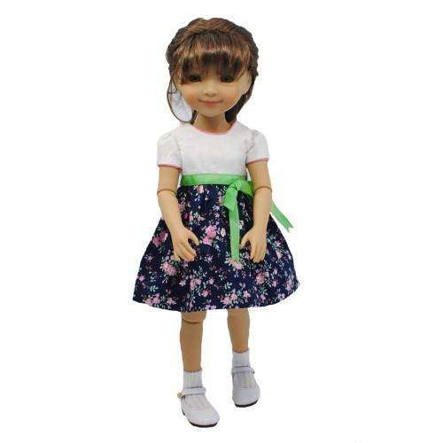 Einfaches Kleid mit Rosenstoff 33-36cm