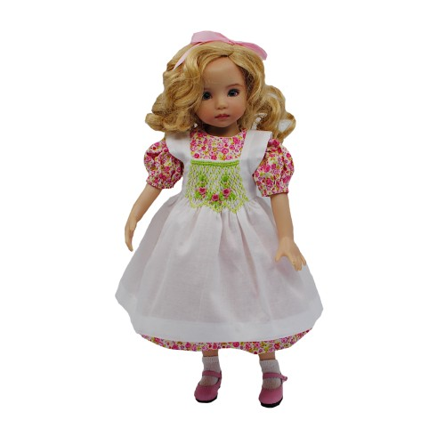 Floral dress with pinafore 33-36 cm