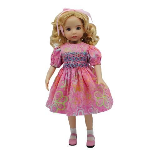 Pink Smocked Batik Dress 33cm