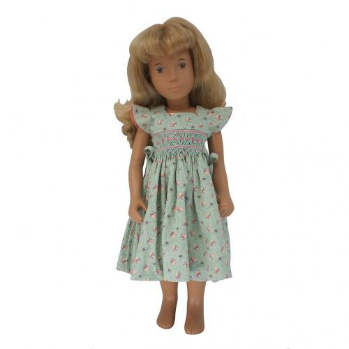Blaues oder grünes Gesmoktes Sommerkleid 40 cm
