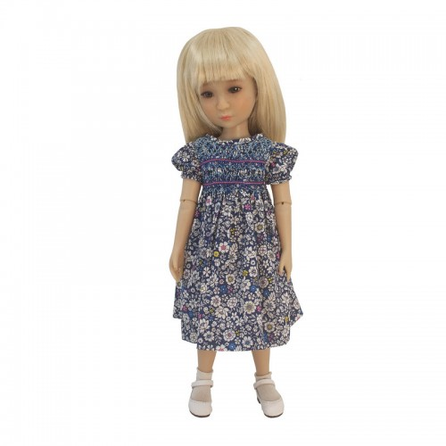 Blau geblümtes Smokkleid 33-36cm