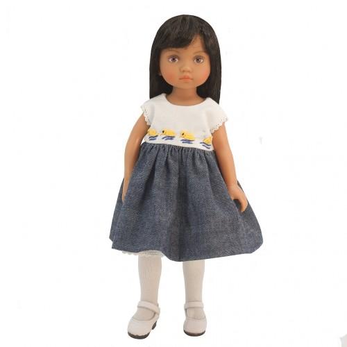 Besticktes Kleid mit Jeansrock 24cm