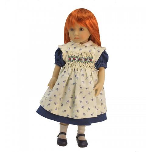 Denim dress with floral smock apron 24 cm