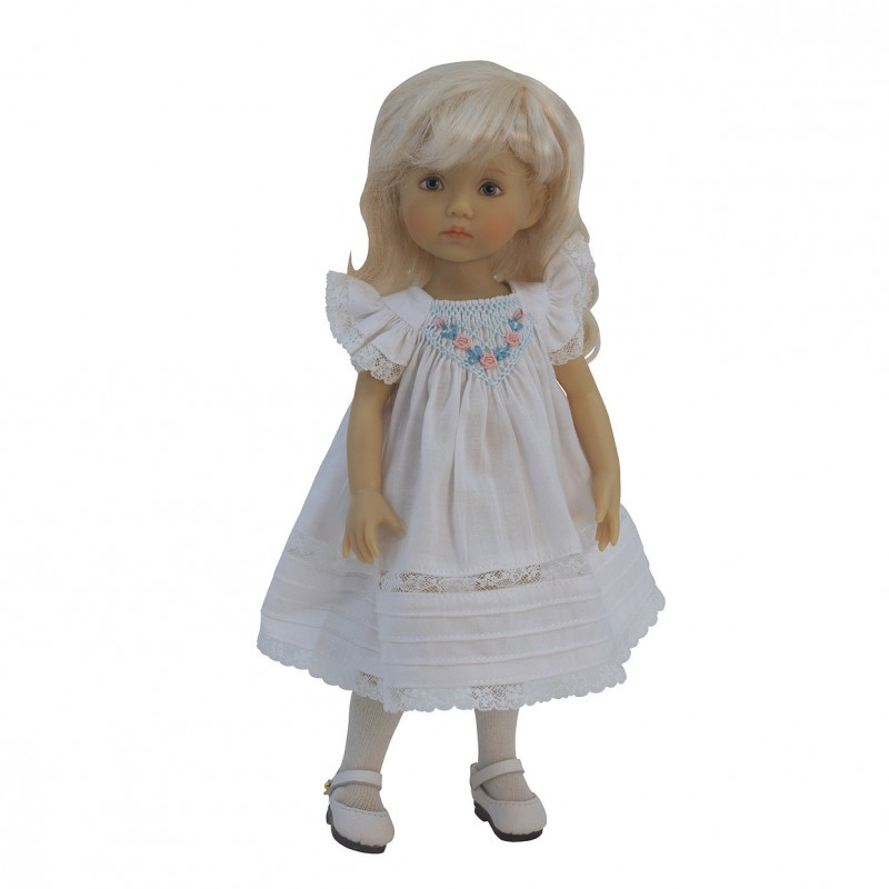 Delicate white Smock dress with lace trim 24 cm