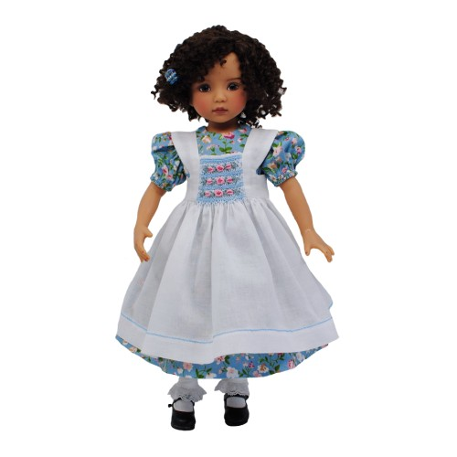 Floral dress with smocked pinafore 33-36cm