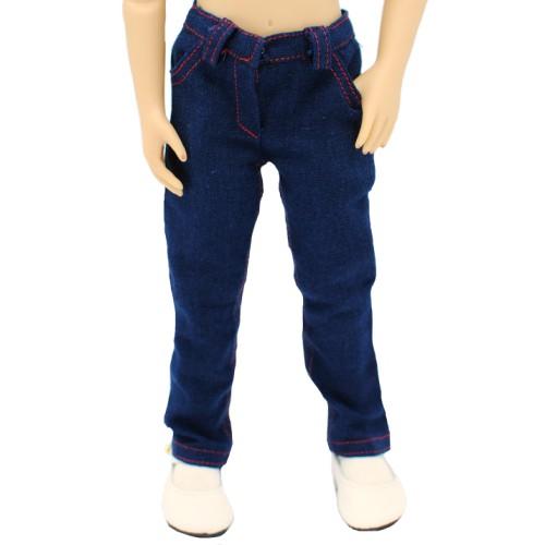 Jeans mit roten Ziernähten 36cm